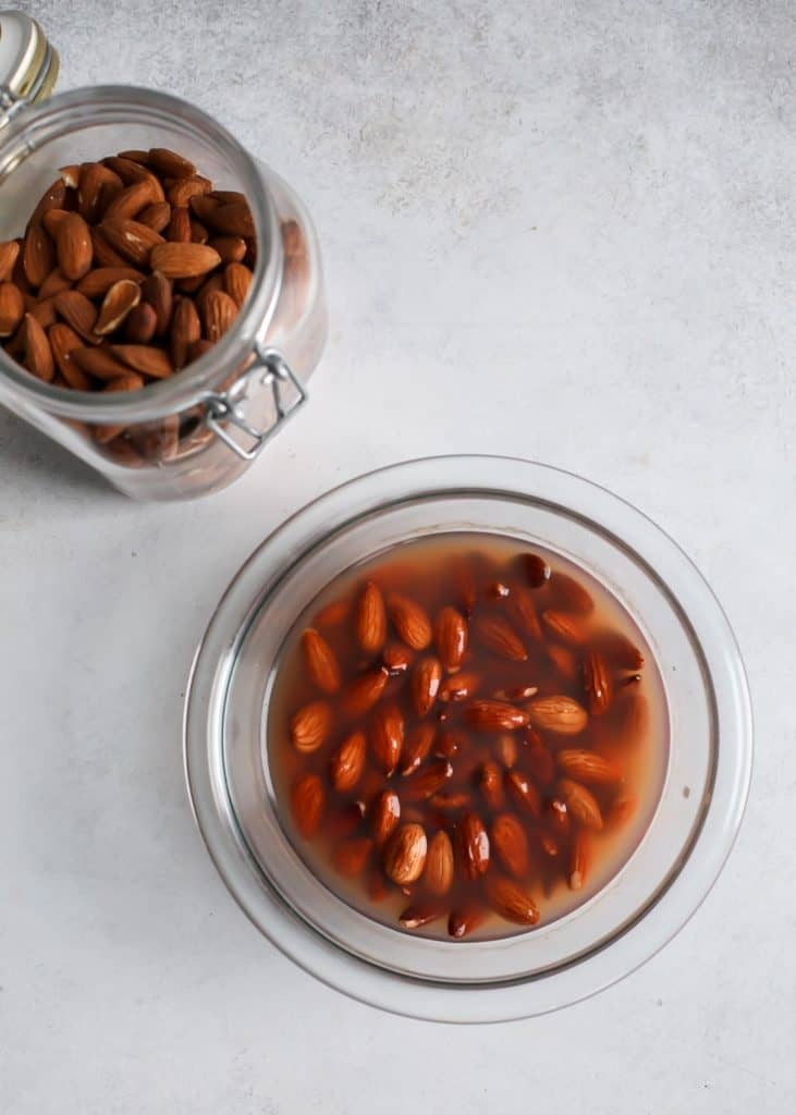bowl of soaked almonds for homemade nut milk