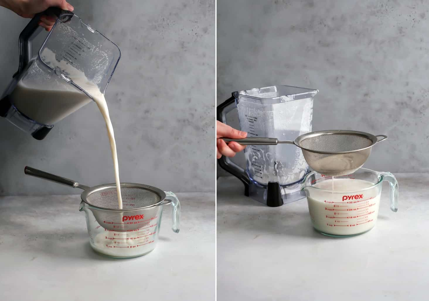 pouring cashew milk into mesh strainer and pyrex measuring cup for homemade nut milk