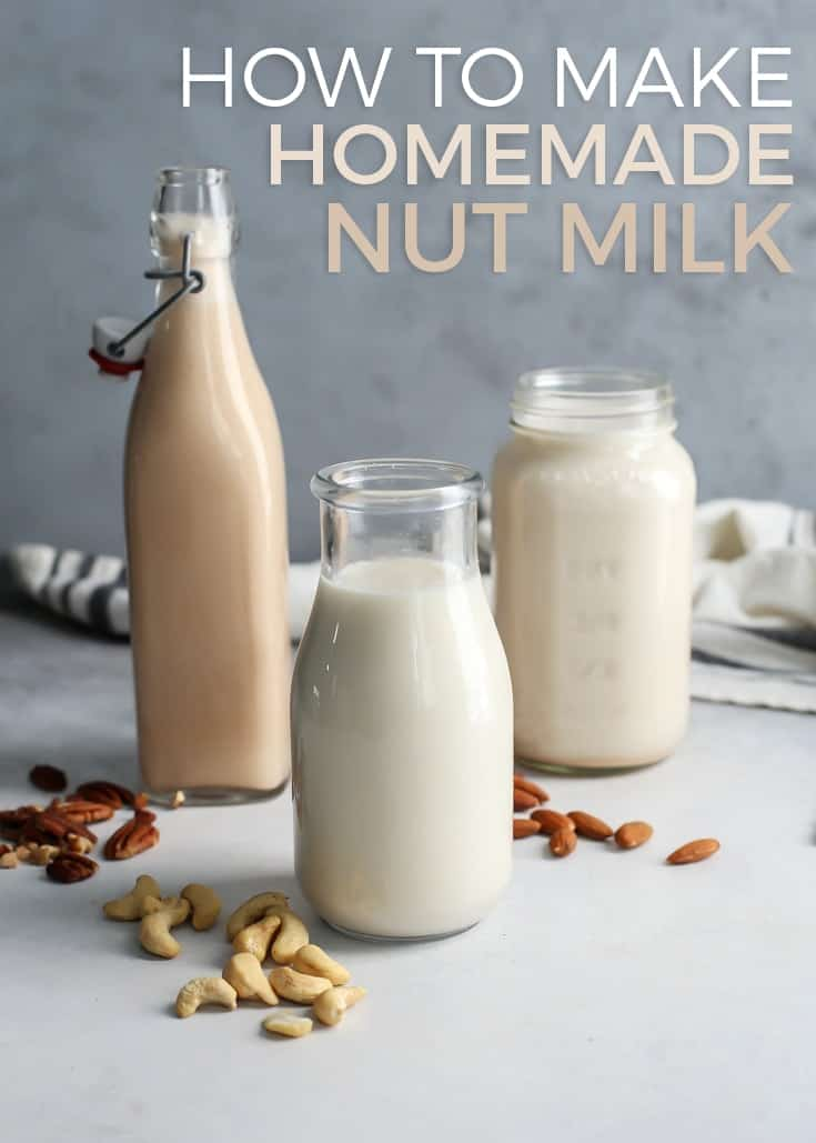 glass jars and bottles of homemade nut milk