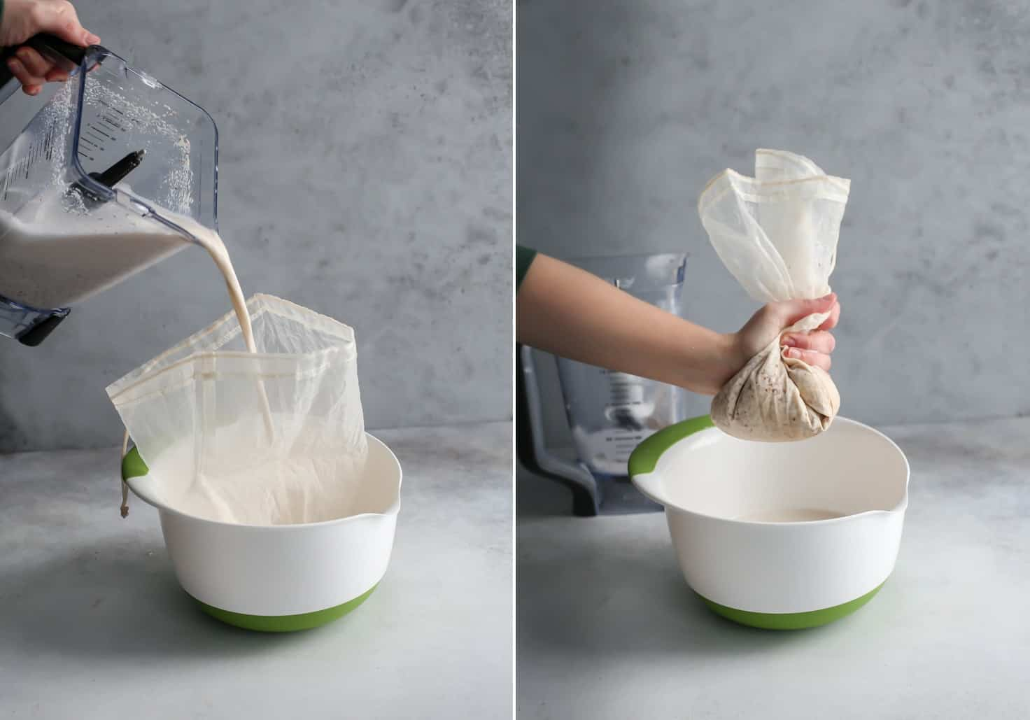 pouring nut milk from blender into nut milk bag placed in bowl