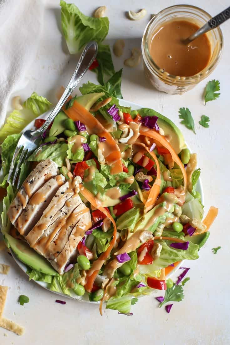Loaded Thai Salad with Grilled Chicken and spicy thai ...