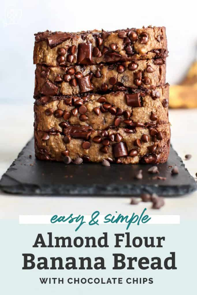 almond flour banana bread with chocolate chips on black slate