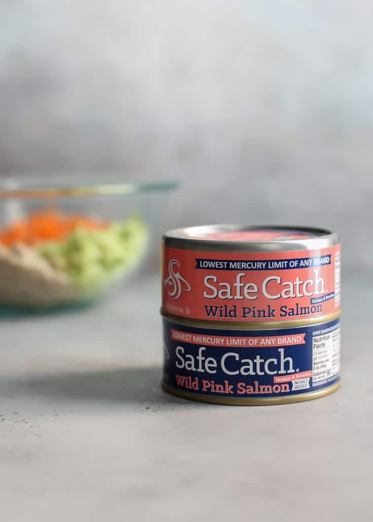 Safe Catch Wild Pink Salmon with bowl of ingredients for salmon meatballs