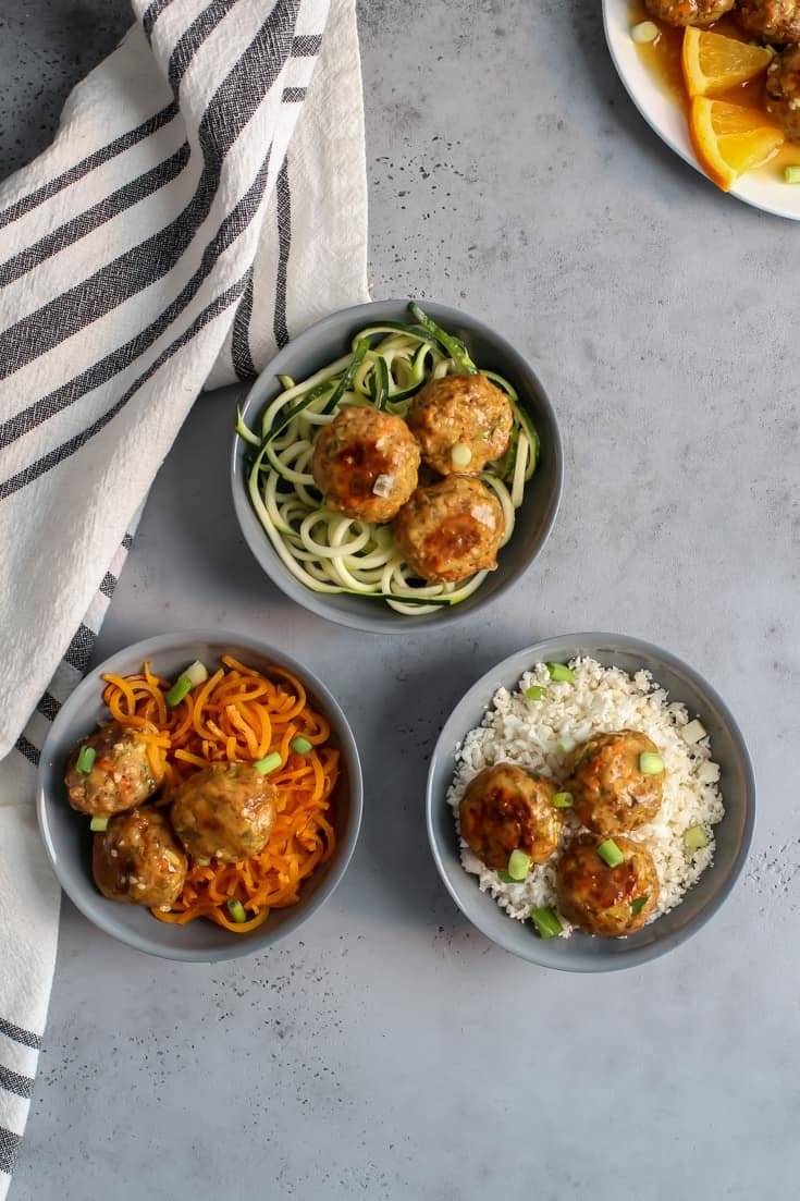 salmon meatballs in zucchini noodles bowl, sweet potato noodle bowl, and cauliflower rice bowl