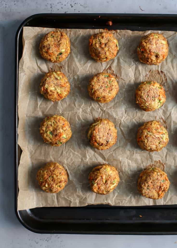 salmon meatballs on lined baking tray
