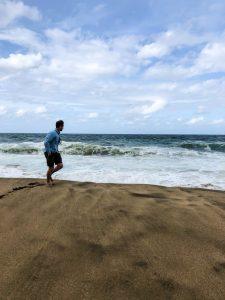 running down beach