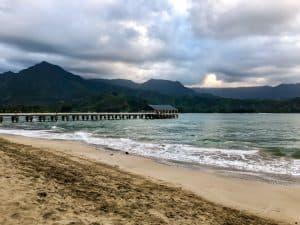 hanalei beach pier on kauai