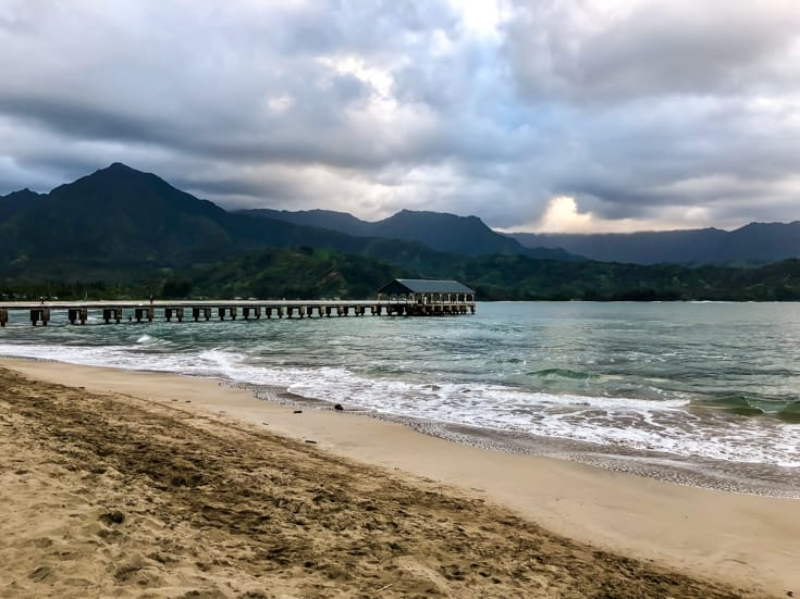 hanalei beach pier on kauai