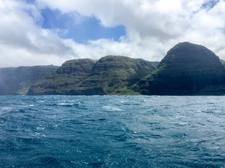 The napali coast by boat from Kauai Sea Tours