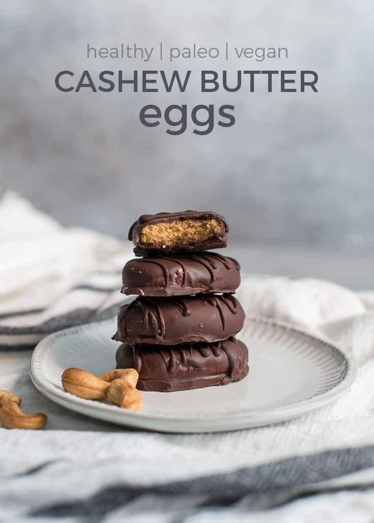 cashew butter eggs stacked on plate with bite taken out