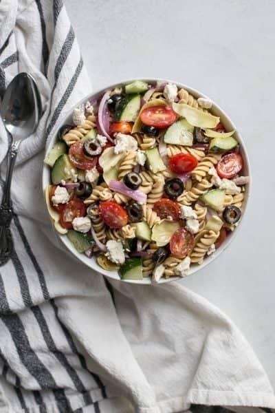 Healthy Greek Pasta Salad [gluten-free]