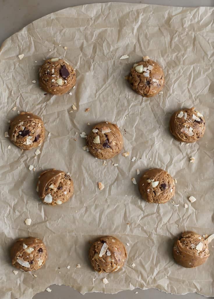 macadamia nut cookie dough on baking sheet