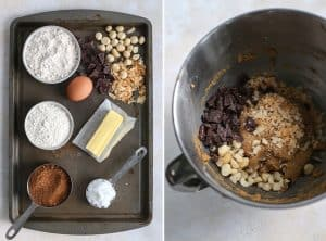 cookie ingredients on baking sheet and mixing bowl with cookie dough