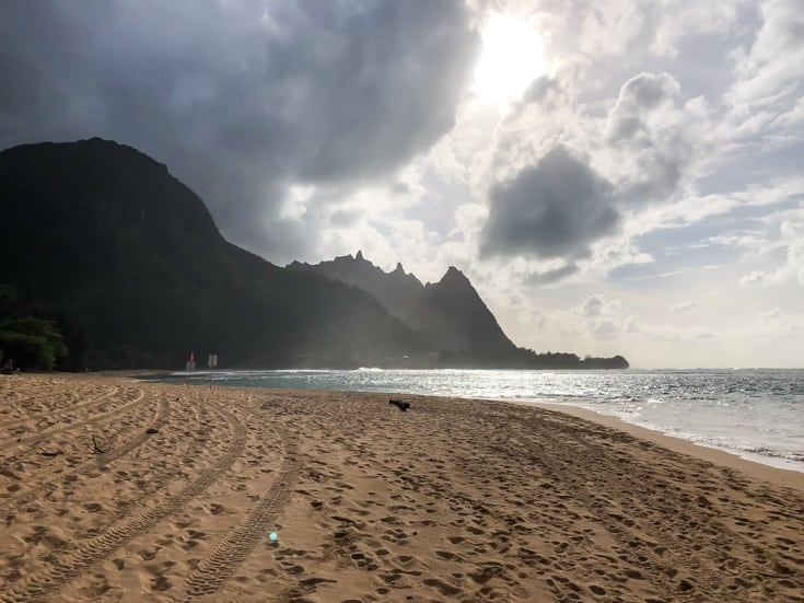 view of sunset from tunnels beach, kauai
