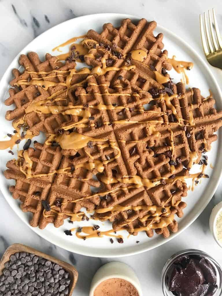 Paleo Cacao Almond Flour Waffles