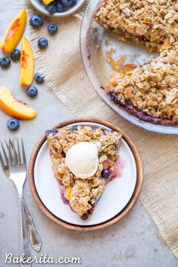 Blueberry Nectarine Pie on plate