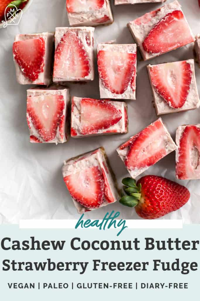Strawberry freezer fudge bars cut into squares