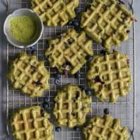 blueberry matcha waffles on cooling rack