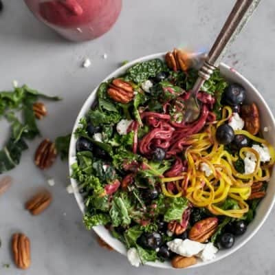 Kale Salad with Spiralized Golden Beets and Balsamic Blueberry Vinaigrette