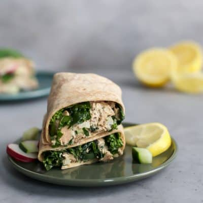 Fattoush Salad Inspired Lemon Pepper Tuna Wrap [paleo-friendly]
