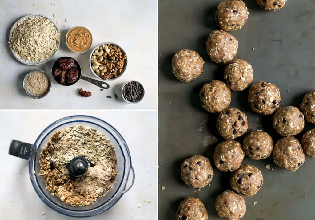 ingredients for maca energy balls and bites in measuring cups and food processor