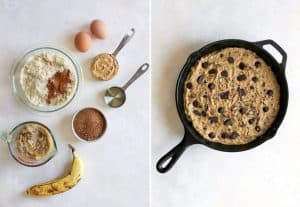 Banana skillet cake ingredients with batter in cast iron skillet