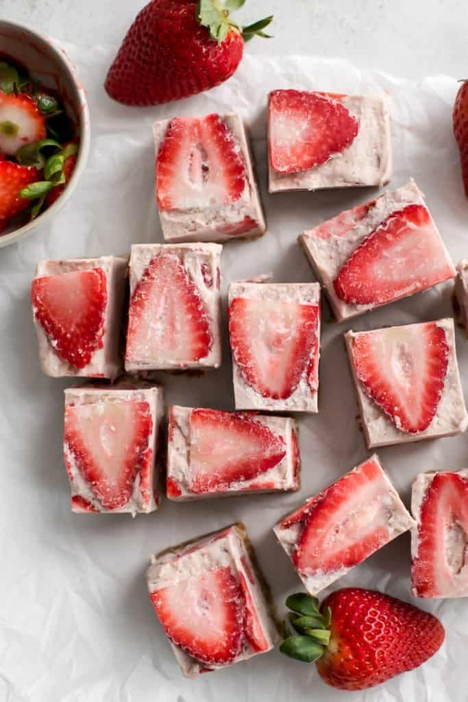 cut up paleo cashew coconut butter strawberry freezer fudge