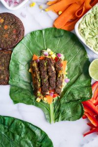 Tex Mex Veggie Burger Collard Wraps laid out for rolling