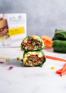 Cut open tex mex veggie burger collard wrap