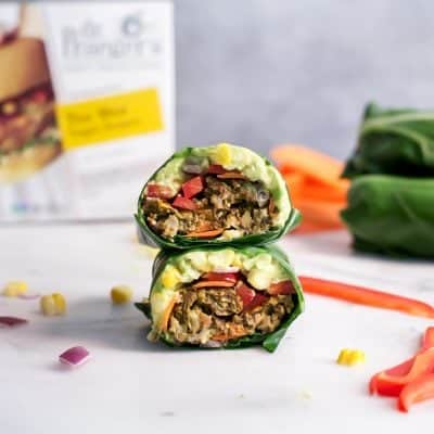 Tex Mex Veggie Burger Collard Wraps