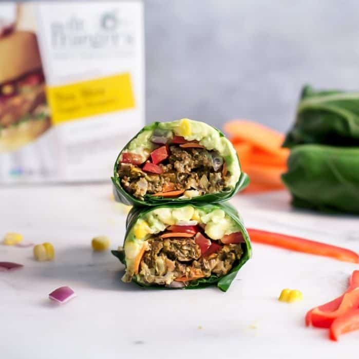 Cut open tex mex veggie burger collard wrap