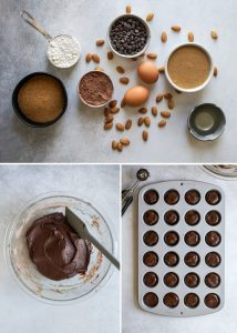 ingredients for almond butter brownies, batter in bowl and mini muffin pan