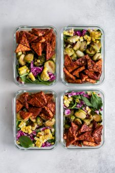 Vegan BBQ Tempeh Meal Prep Bowls with avocado ranch dressing