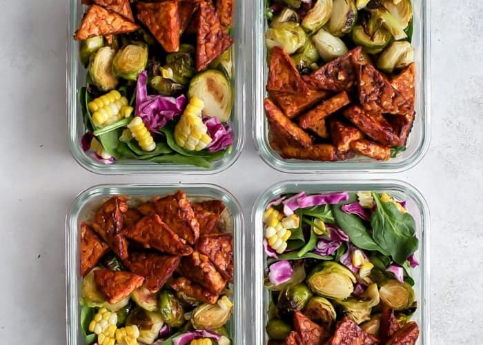Vegan BBQ Tempeh Meal Prep Bowls with avocado ranch dressing