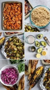 collage of meal prep steps for vegan bbq tempeh