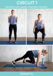 hammer curls, banded squats and mountain climbers