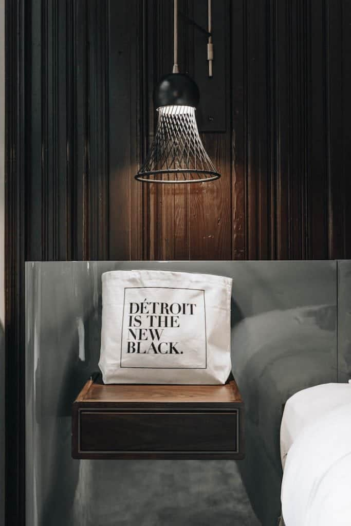 Detroit is the new black canvas bag in the Detroit Foundation Hotel