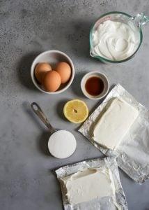 eggs, vanilla, lemon, greek yogurt, cream cheese and sugar for greek yogurt cheesecake