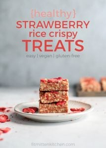 strawberry rice crispy treats stacked on white plate