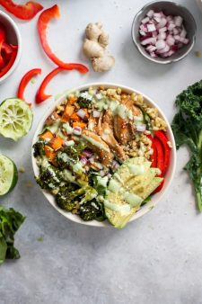 Honey Ginger Chicken Power Bowls with Creamy Lime Dressing