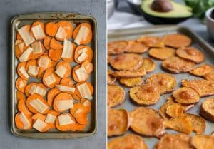 thinly sliced sweet potatoes on baking pan with slices of aged cheddar cheese for loaded sweet potato nacho salad bowls