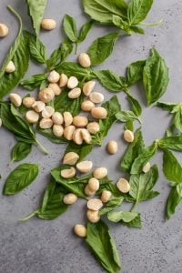 roasted macadamia nuts with fresh basil on gray board