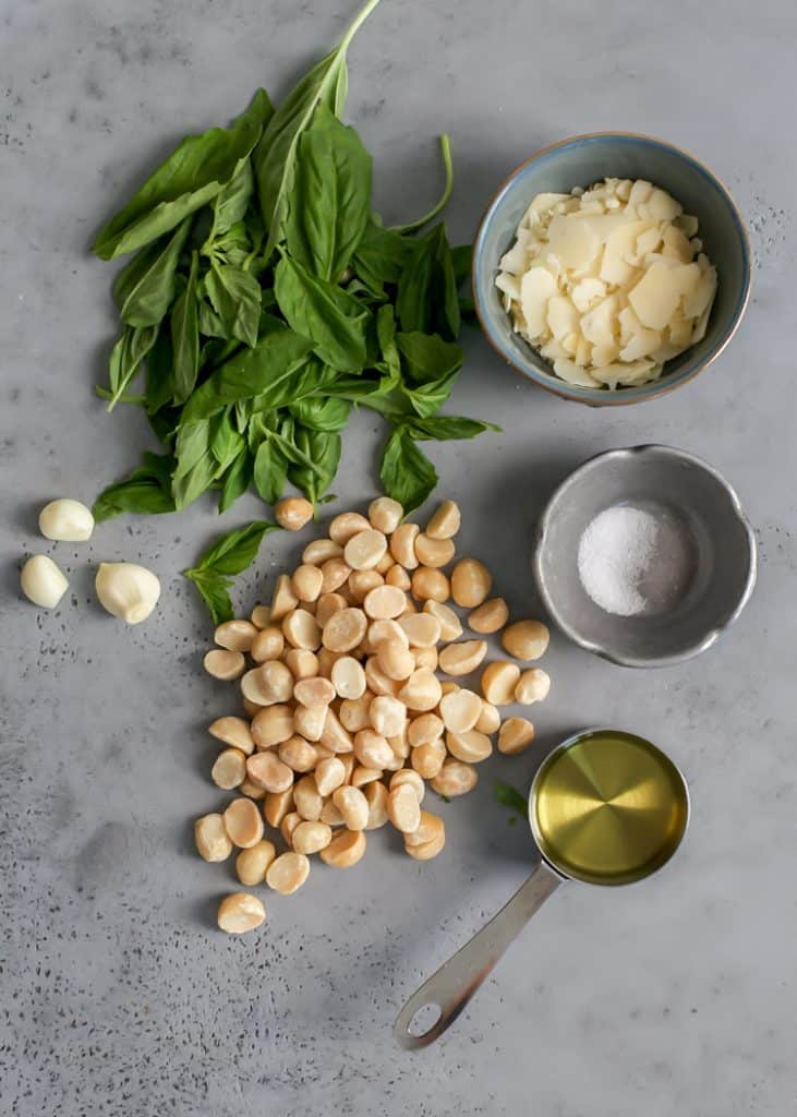 basil, macadamia nuts, garlic, parmesan cheese, salt and extra virgin olive oil for basil pesto