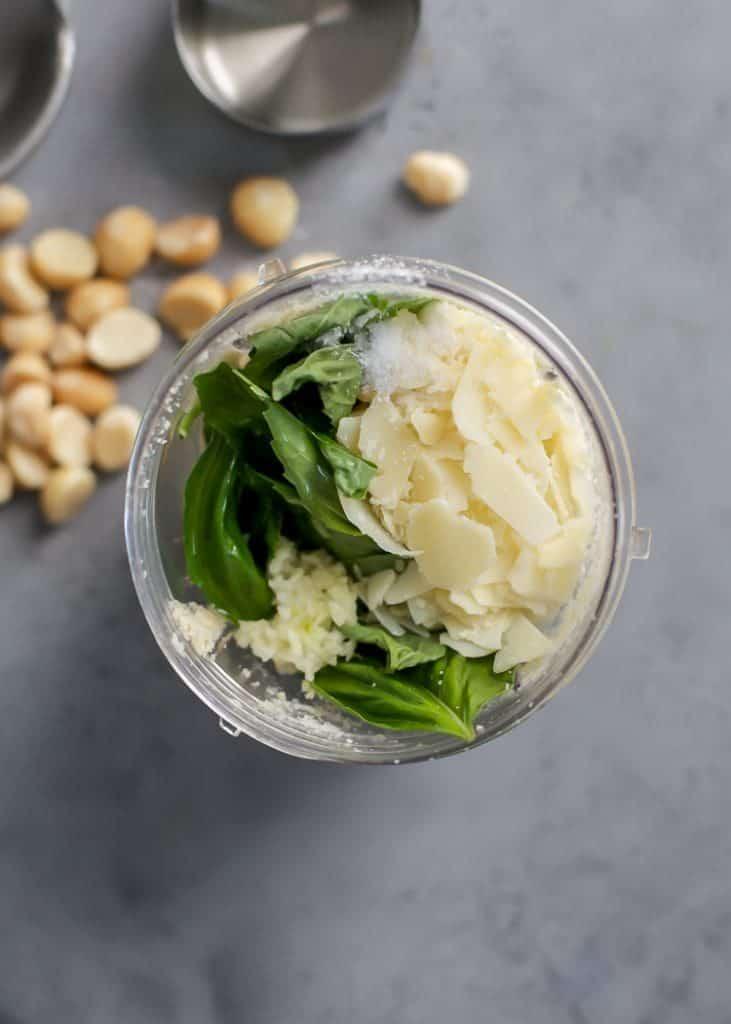 ingredients for macadamia nut basil pesto in blender cup