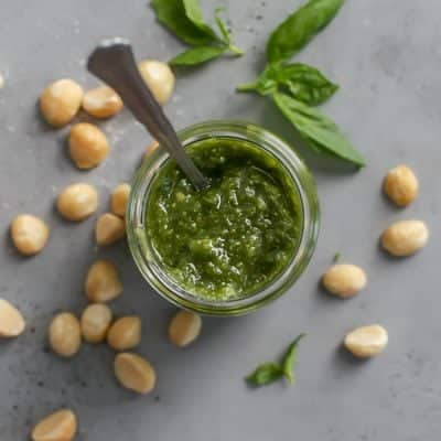 Quick & Easy Macadamia Nut Basil Pesto