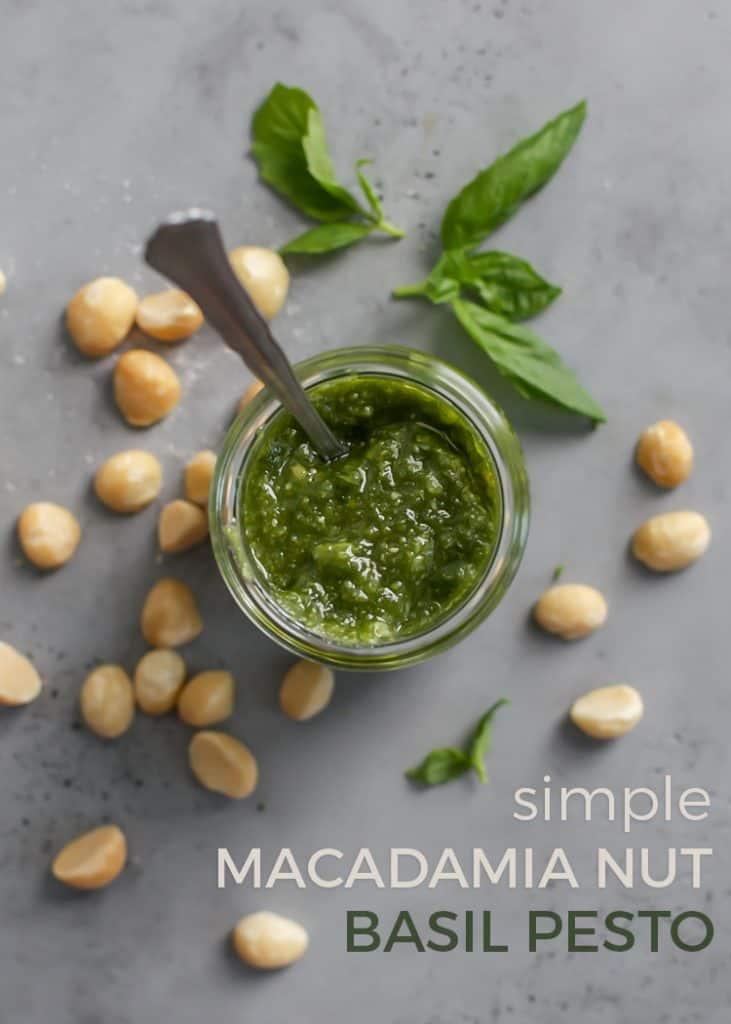 jar of macadamia nut basil pesto