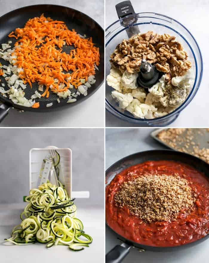 process of making a cauliflower walnut bolognese