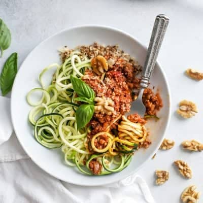 Meatless Walnut-Cauliflower Bolognese with Zucchini Pasta