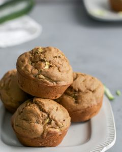 pile of healthy zucchini muffins on plate