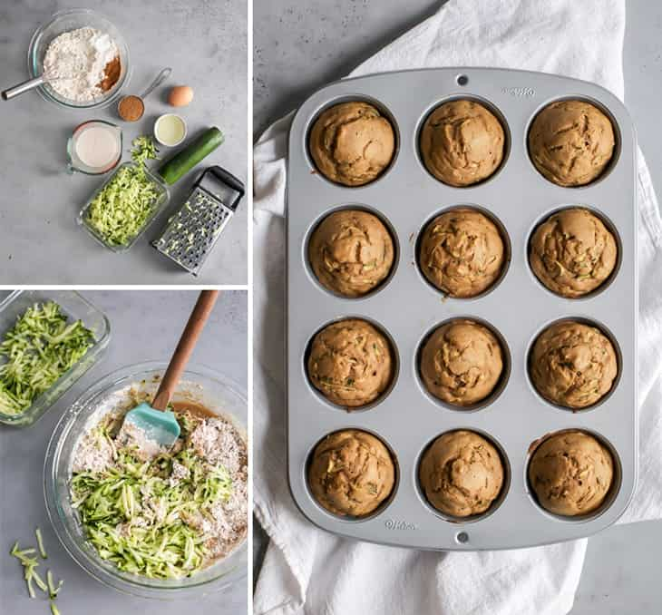 shredded zucchini, bowl of zucchini muffin ingredients, baked healthy zucchini muffins in pan